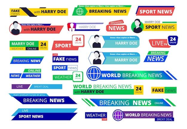 Brekende nieuwsbanners. omroep-televisie-interface labels gebruikersnaam en logotype tekst grafische balk