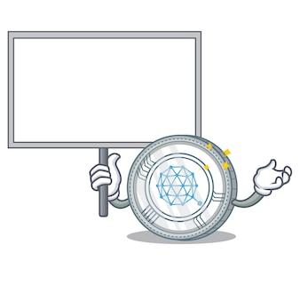 Breng boord qtum coin character cartoon