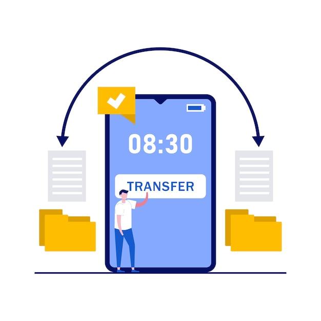 Breng gegevens en documentconcept over met tekens. bestanden kopiëren, gegevensuitwisseling, synchronisatie-app, bestanden delen via internet.