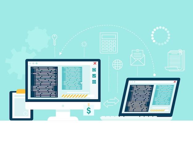 Breng informatie over van het ene computerapparaat naar het andere. bestandsoverdracht, gegevensuitwisseling. Premium Vector