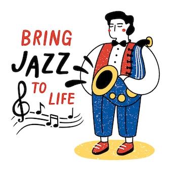 Breng jazz tot leven. prestaties van muzikantillustratie