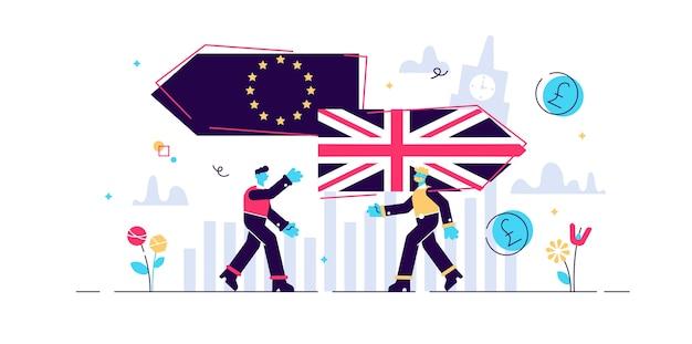 Brexit. plat klein vk verlaat concept eu-referendum personen. groot-brittannië exit europese unie stemming crisis symbool. resultaat van economische en politieke besluitkeuze. hervorming van euroscepticisme.