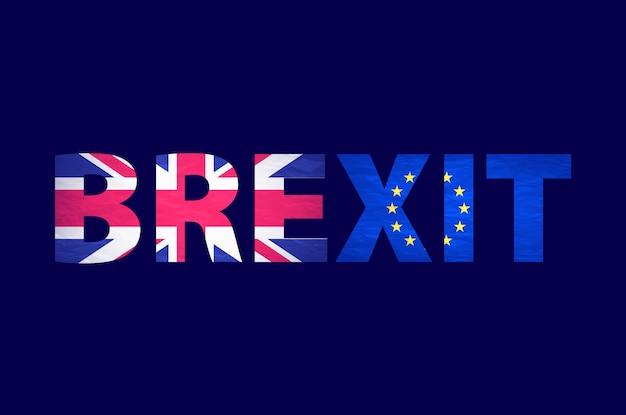 Brexit tekst geïsoleerd. het verenigd koninkrijk verlaat europa ten opzichte van europa. brexit noemde politiek proces. referendum thema