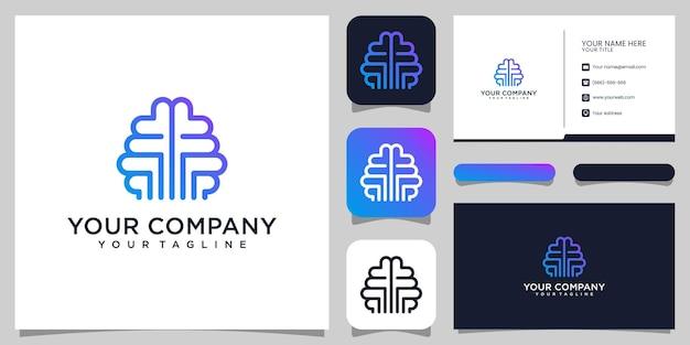 Brian idee logo-ontwerp en visitekaartje premium vector