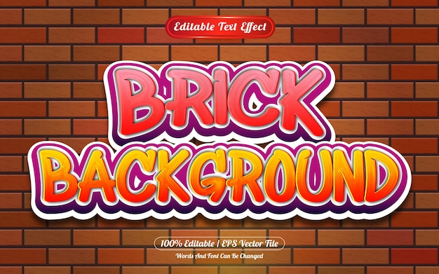 Brick bewerkbare teksteffect graffiti-stijl