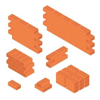 Brick set en muur isometrisch aanzicht element bouw van huis voor web en app. vector illustratie