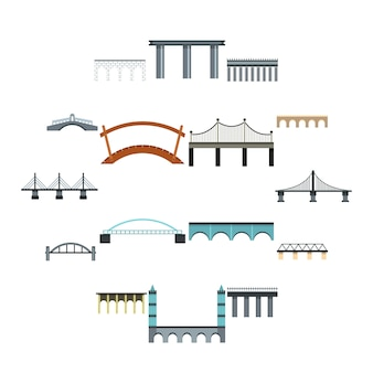 Bridge iconen set, vlakke stijl