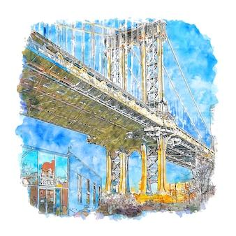 Bridge new york verenigde staten aquarel schets hand getrokken illustratie