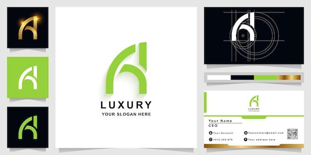Brief aa of een monogram logo sjabloon met visitekaartje ontwerp