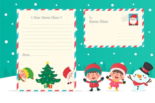 Brief aan de kerstman. kinderen die brieven schrijven aan de kerstman met de besneeuwde winter.