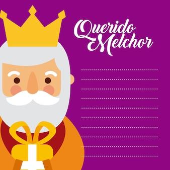 Brief aan melchor koning van oosten feest festiviteit