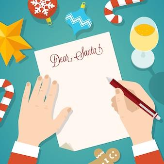 Brief aan santa flat style christmas vector card of achtergrond