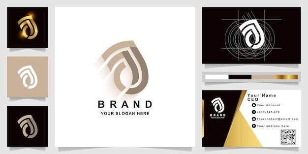 Brief aj of aa monogram logo sjabloon met visitekaartje ontwerp