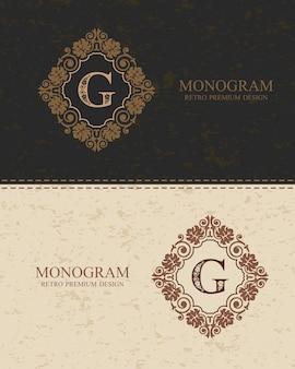 Brief embleem g sjabloon, monogram ontwerpelementen, kalligrafische sierlijke sjabloon.