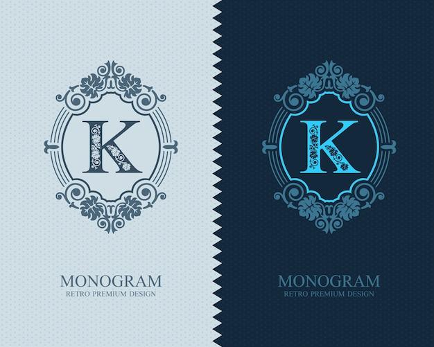 Brief embleem k sjabloon, monogram ontwerpelementen, kalligrafische sierlijke sjabloon.