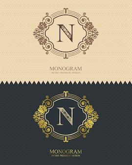 Brief embleem m sjabloon, monogram ontwerpelementen, kalligrafische sierlijke sjabloon.