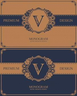 Brief embleem v sjabloon, monogram ontwerpelementen, kalligrafische sierlijke sjabloon.