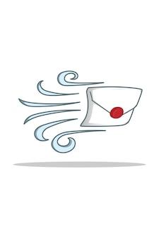Brief en wind in cartoonillustratie van de wereldpostdag