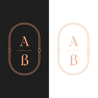 Brief logo luxe. art deco-stijl logo-ontwerp voor luxe bedrijfsbranding. premium identiteitsontwerp. letter ab