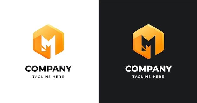 Brief logo ontwerpsjabloon met geometrische vormstijl
