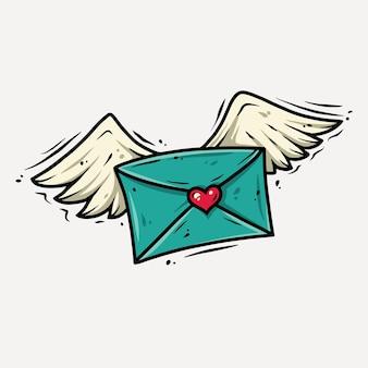 Brief met vleugels en hart.