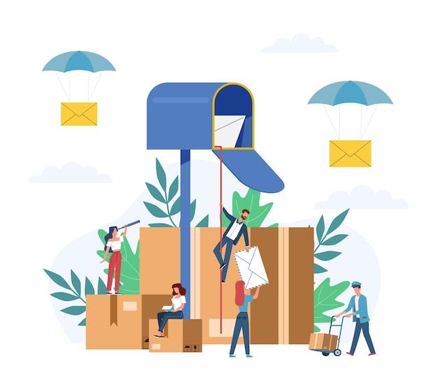 Brief ontvangen. kleine mensen postmans en gigantische mailbox met brieven, pakketten sorteren dozen, nieuwsbrief sociaal nieuws, mail service postzegel enveloppen levering vector platte cartoon concept
