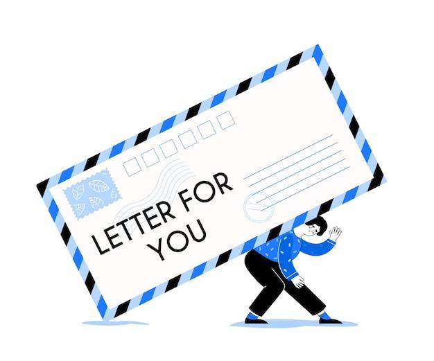 Brief voor jou. vrouw houdt envelop handen. meisje met brief in vlakke stijl. berichtmelding