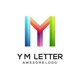 Brief ym kleurrijk logo ontwerpsjabloon modern