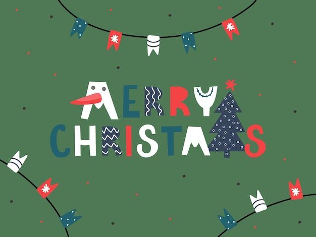 Briefkaart applique vrolijk kerstfeest. grappige letters, boom, slingers van vlaggen. heldere vectorillustratie.