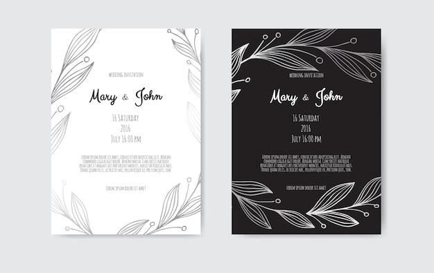 Briefkaart bruiloft uitnodigingssjabloon.