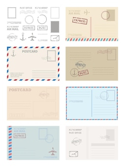 Briefkaart envelop sjabloon set. wenskaart postzegels postdiensten rood blauw frame snelle levering luchtschepen stijlvolle retro lege lege grafische ontwerpsjabloon.