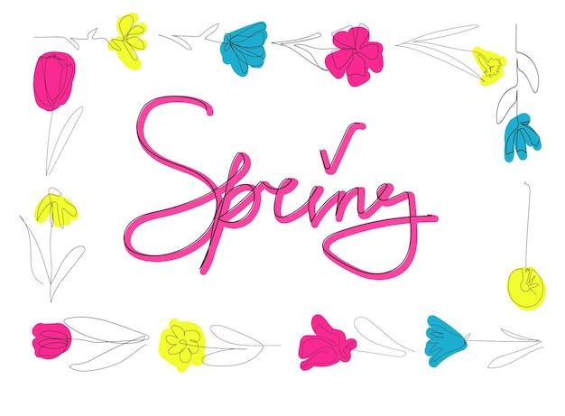 Briefkaart lente bloemen één regel hand tekenen minimale vectorillustratie
