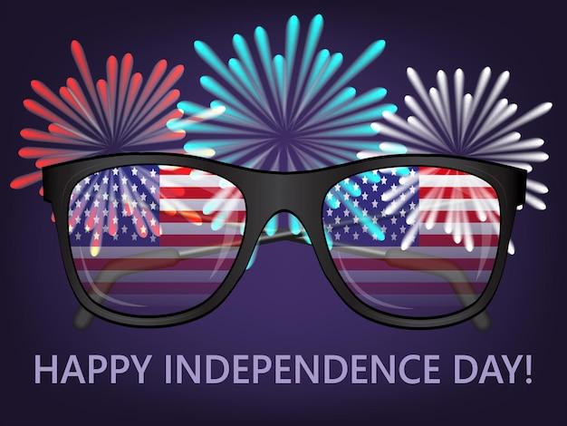 Briefkaart voor onafhankelijkheidsdag. bril met vlaggen van de verenigde staten en vuurwerk op donkerblauwe achtergrond. realistische stijl. vector illustratie.