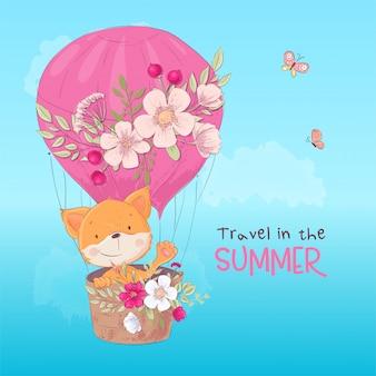 Briefkaartaffiche van een leuke vos in een ballon met bloemen in beeldverhaalstijl.