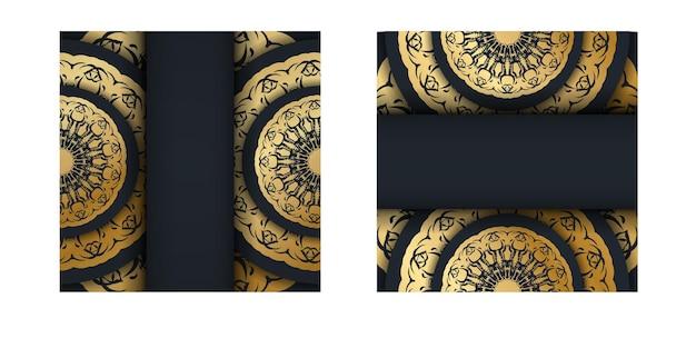 Briefkaartsjabloon in zwart met vintage gouden ornamenten voorbereid voor typografie.