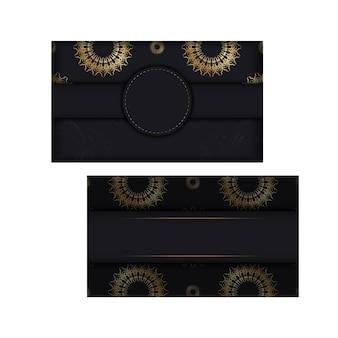 Briefkaartsjabloon in zwarte kleur met gouden abstract patroon