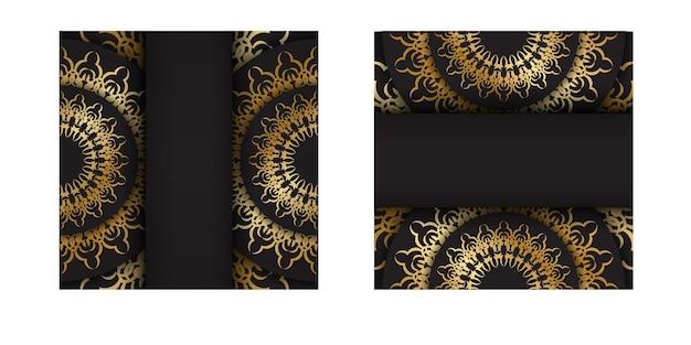 Briefkaartsjabloon in zwarte kleur met gouden vintage patroon
