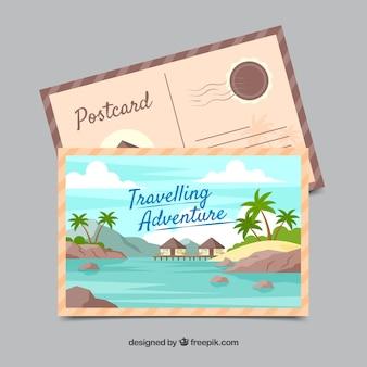 Briefkaartsjabloon met adventrure stijl reizen