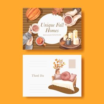 Briefkaartsjabloon met herfsthuis gezellig concept, aquarelstijl