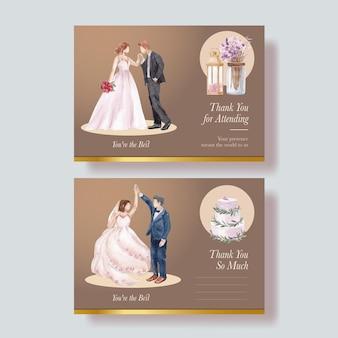 Briefkaartsjabloon met lila violet bruiloftsconcept, aquarelstijl