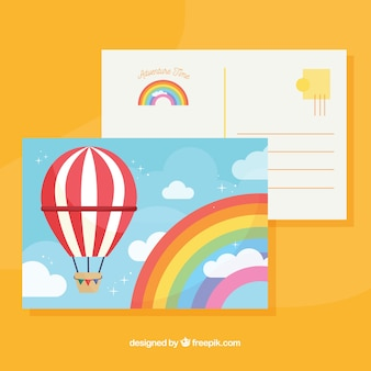 Briefkaartsjabloon reizen met platte ontwerp