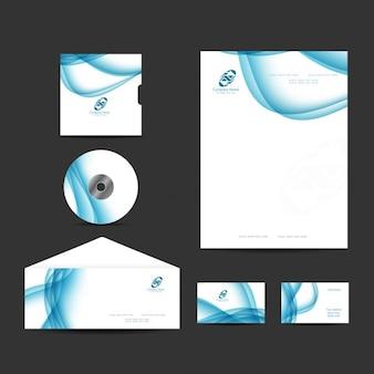 Briefpapier collectie met blauwe golven