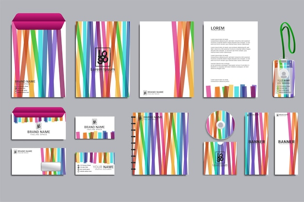 Briefpapier corporate brand identity mockup-set Gratis Vector