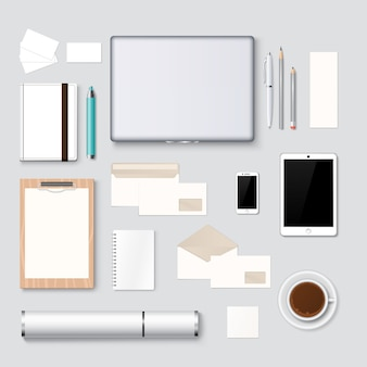 Briefpapier en web ontwerp mockup sjabloon achtergrond
