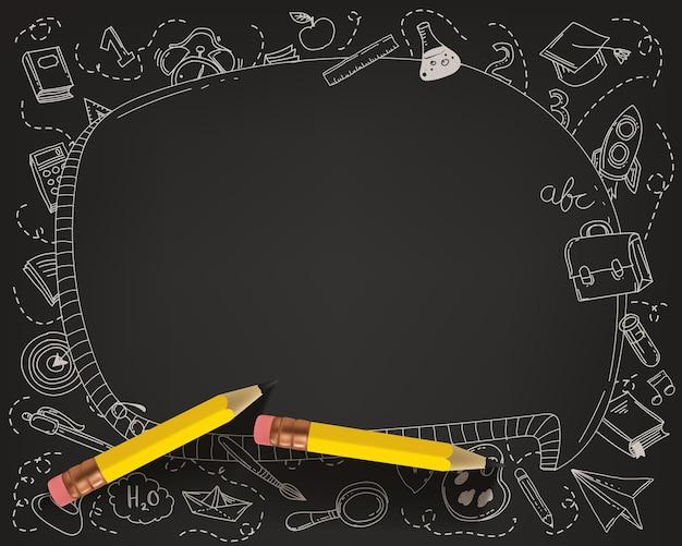 Briefpapier kit frame met potlood. terug naar schoolconcept