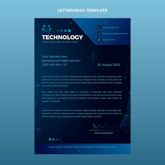 Briefpapier met abstracte technologie met kleurovergang
