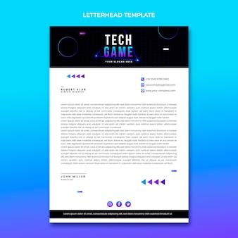 Briefpapier met abstracte technologie met kleurovergang Gratis Vector