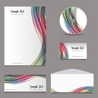 Briefpapier set met kleurrijke golven