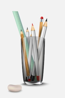 Briefpapier set potloodwisser en liniaal op het glas