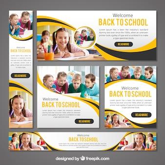 Briefpapier set van terug naar school banners